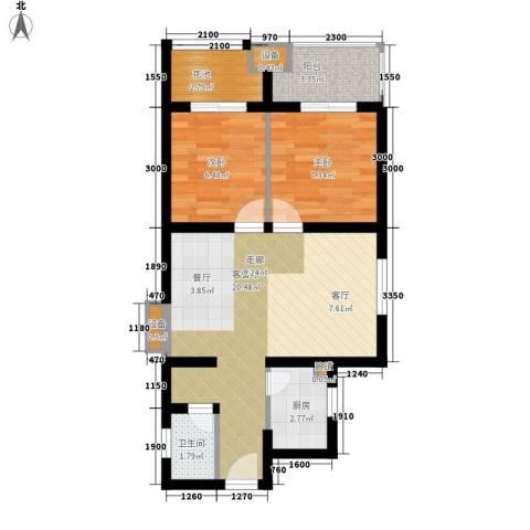祥瑞东方城2室1厅1卫1厨76.00㎡户型图