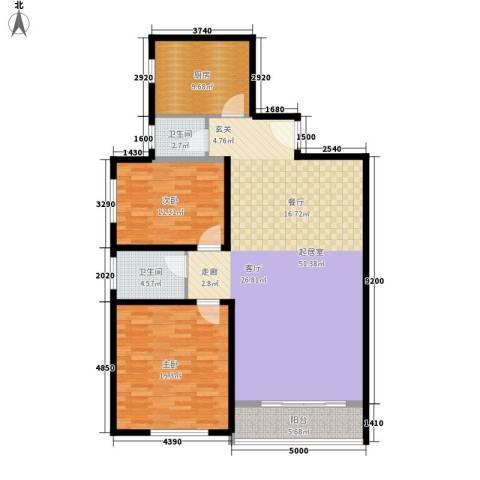 长丰园项目2室0厅2卫1厨117.00㎡户型图