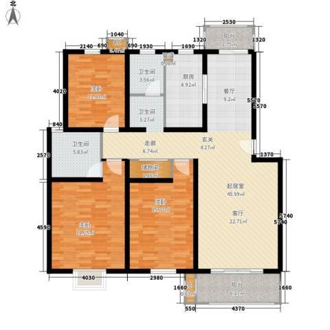 公交蜀山园3室0厅2卫1厨136.00㎡户型图