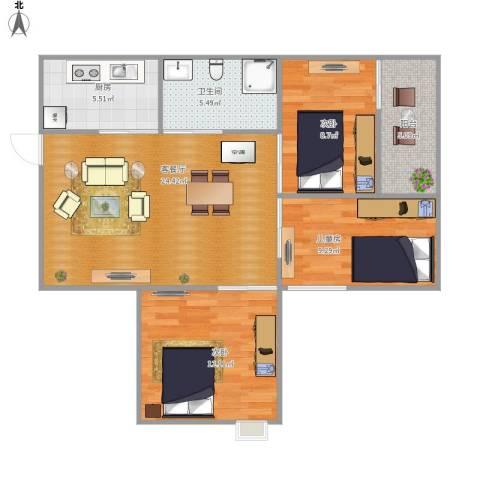 怡乐居3室1厅1卫1厨76.00㎡户型图