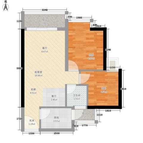 中惠丽阳时代2室0厅1卫1厨64.00㎡户型图