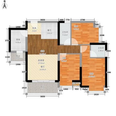 中惠丽阳时代3室0厅2卫1厨91.00㎡户型图