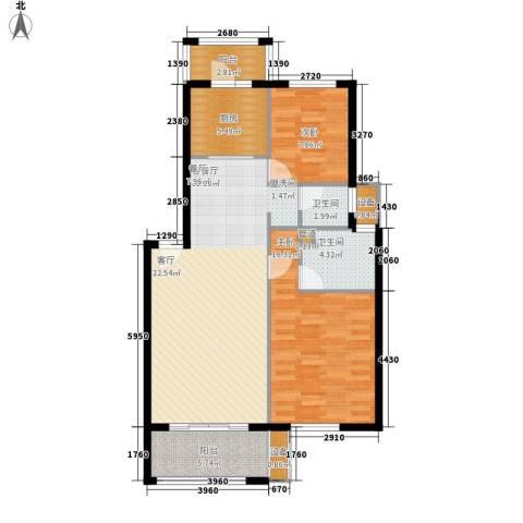 书香名城2室1厅2卫1厨86.71㎡户型图