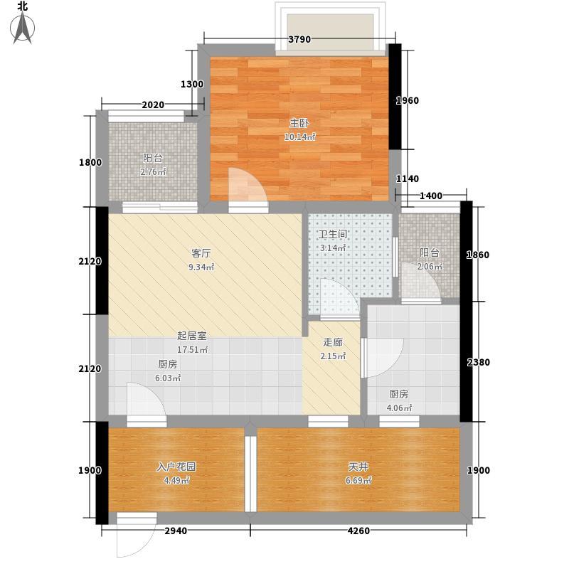 长富广场60.00㎡长富广场1室户型1室