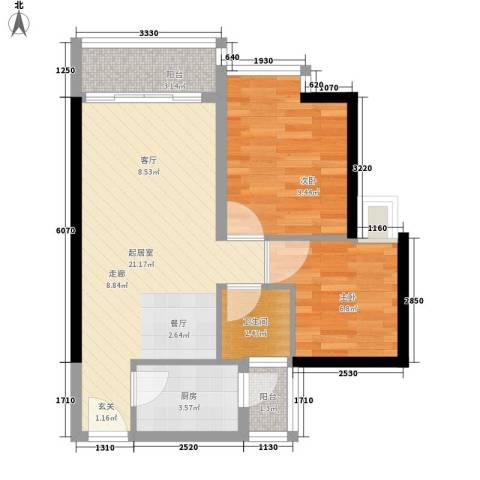 中惠丽阳时代2室0厅1卫1厨66.00㎡户型图