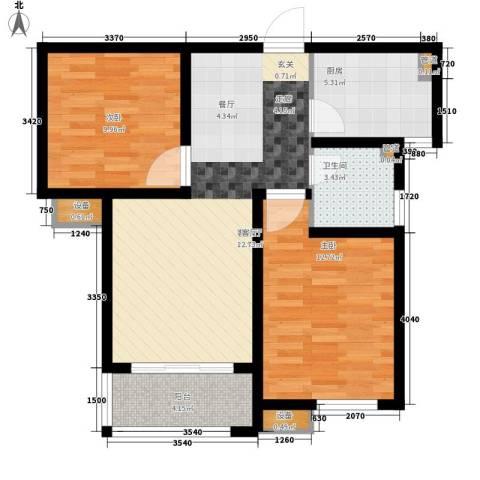 银丰唐郡・紫薇园2室1厅1卫1厨90.00㎡户型图
