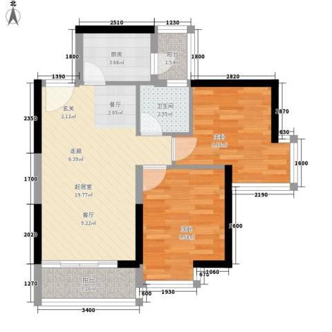 中惠丽阳时代2室0厅1卫1厨62.00㎡户型图