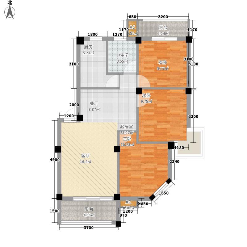 汇诚东方水都86.16㎡汇诚东方水都户型图3室2厅1卫户型10室