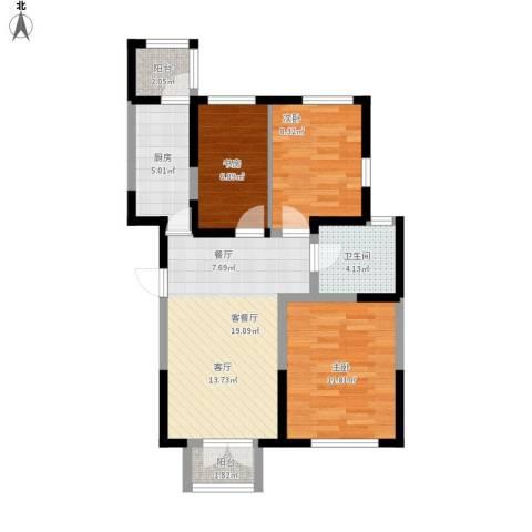 房信海景园3室1厅1卫1厨87.00㎡户型图