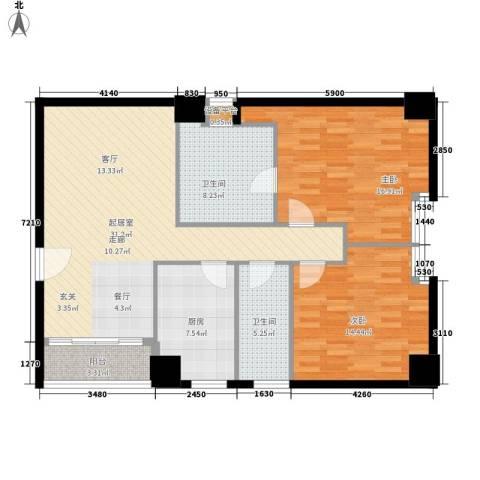 假日豪庭2室0厅2卫1厨99.00㎡户型图
