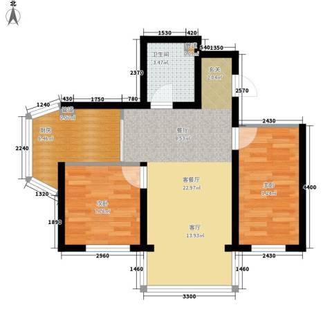 天薇丽景园2室1厅1卫1厨58.00㎡户型图
