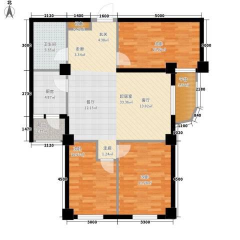 山海一家三期3室0厅1卫1厨118.00㎡户型图