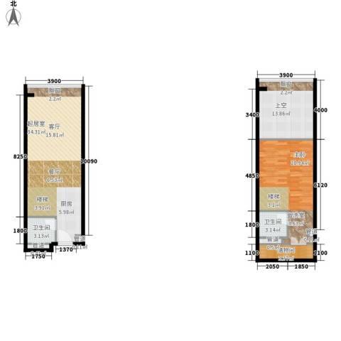 敏捷伊顿公馆1室0厅2卫0厨79.87㎡户型图