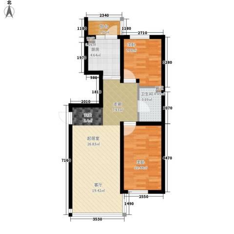 天薇丽景园2室0厅1卫1厨63.00㎡户型图