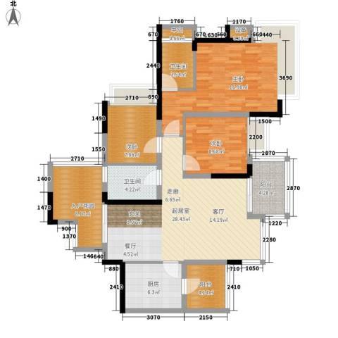 劲力五星城3室0厅2卫1厨135.00㎡户型图