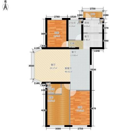 天薇丽景园3室1厅2卫1厨98.00㎡户型图