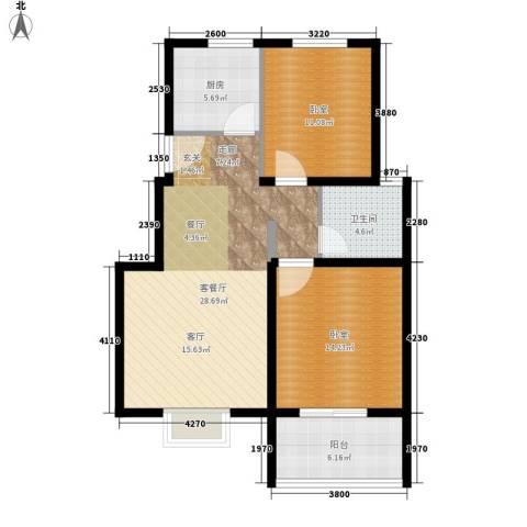 建大花园1厅1卫1厨80.00㎡户型图