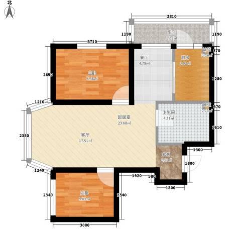 天薇丽景园2室0厅1卫1厨58.00㎡户型图