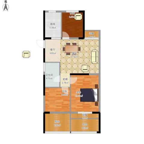 中嘉银都水岸3室1厅1卫1厨108.00㎡户型图