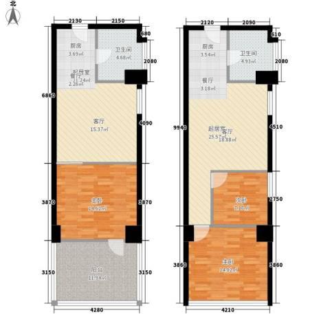 中山SOHO公寓3室0厅2卫0厨148.00㎡户型图