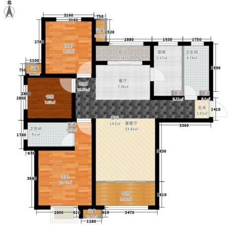 银丰唐郡・紫薇园3室1厅2卫1厨129.00㎡户型图