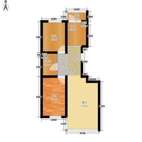 天薇丽景园2室0厅1卫1厨62.00㎡户型图
