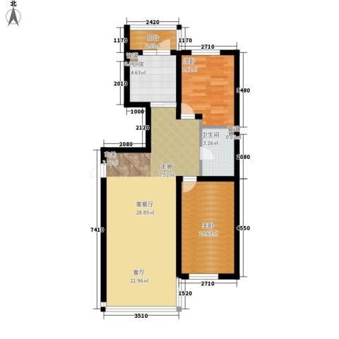 天薇丽景园2室1厅1卫1厨66.00㎡户型图