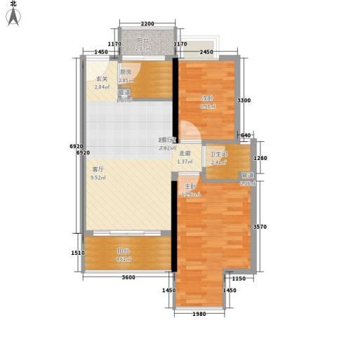凯旋国际2室0厅1卫1厨65.00㎡户型图