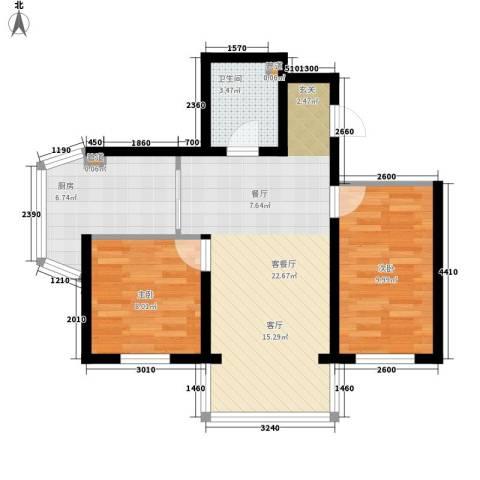 天薇丽景园2室1厅1卫1厨60.00㎡户型图