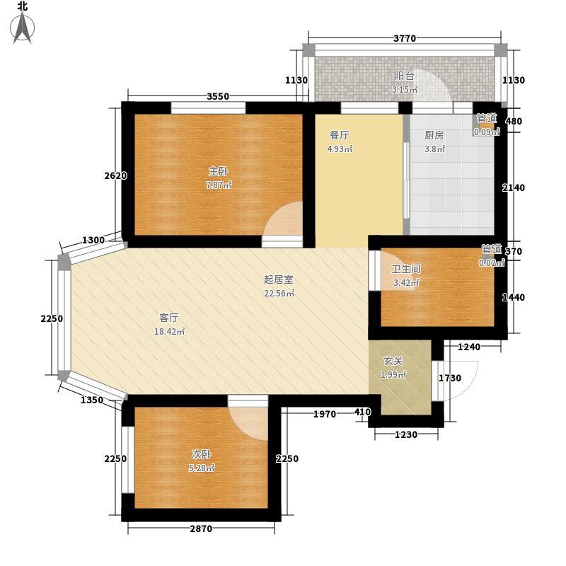 天薇丽景园55.28㎡二期19、22号楼标准层户型2室1厅1卫1厨