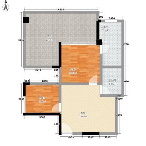聚龙湖2室1厅2卫0厨86.94㎡户型图