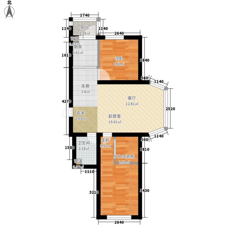 天薇丽景园51.46㎡二期19、22号楼标准层户型2室1厅1卫1厨