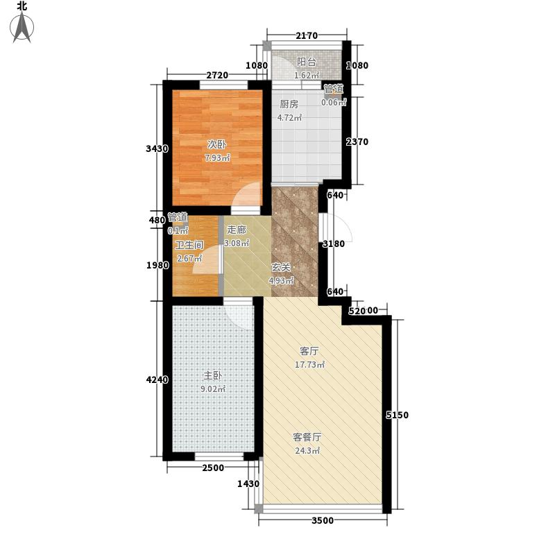 天薇丽景园59.05㎡使用面积59.05/59.67㎡户型2室1厅1卫1厨