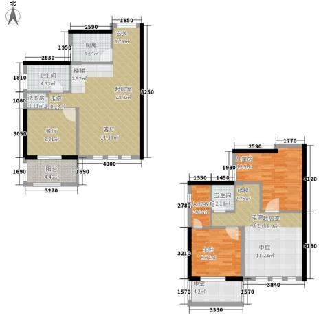 滨湖御景湾2室1厅2卫1厨144.00㎡户型图