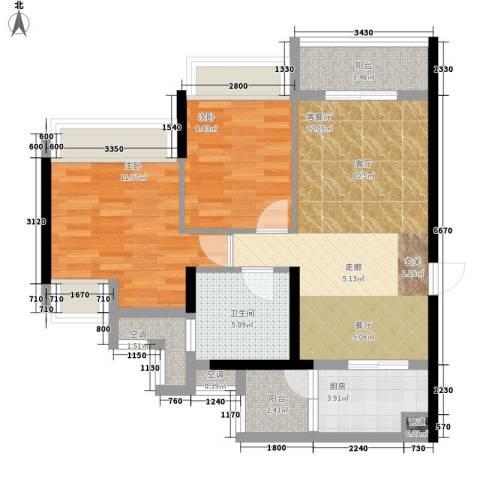 泷景花园2室1厅1卫1厨78.00㎡户型图