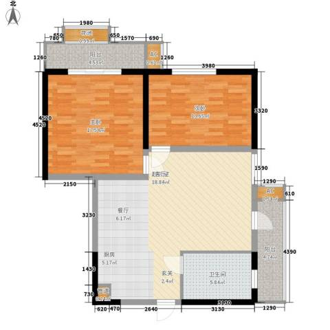 五岭新天地二期 天一华府2室0厅1卫0厨92.00㎡户型图