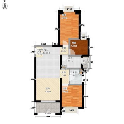 长福花园3室0厅1卫1厨91.00㎡户型图
