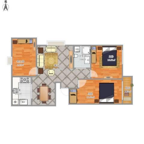 京城国际3室1厅1卫1厨89.00㎡户型图