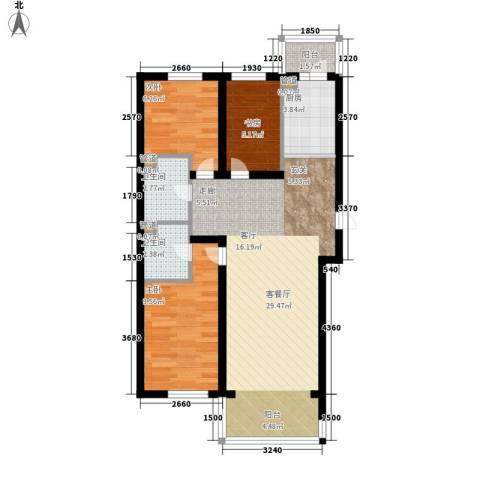 天薇丽景园3室1厅2卫1厨71.00㎡户型图