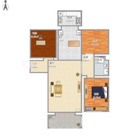 金地家园3室2厅1卫1厨133.00㎡户型图