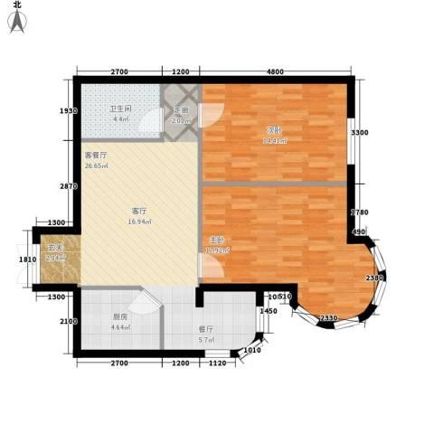 金苑华城2室1厅1卫1厨89.00㎡户型图