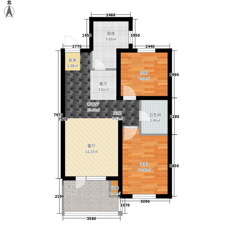 远洋天地户型图AC三好郡高层奇数层  2室2厅1卫1厨