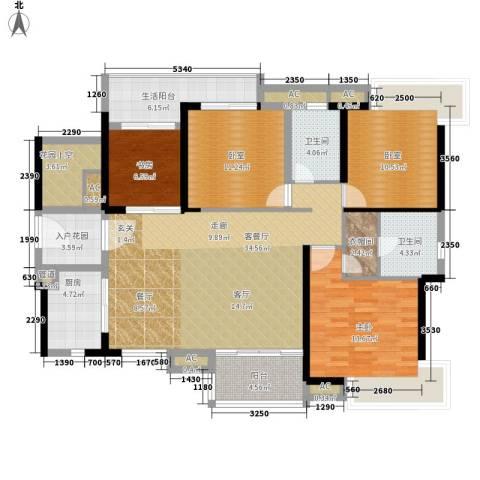 港航华庭2室1厅2卫1厨131.43㎡户型图
