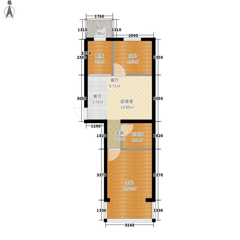 天薇丽景园两室48.24㎡户型2室1厅1卫1厨