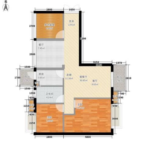 箐英时代2室1厅1卫1厨72.26㎡户型图