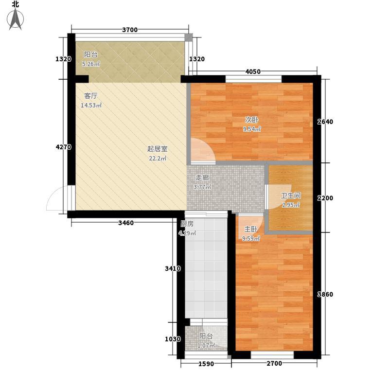 天薇丽景园两室57.50㎡户型2室1厅1卫1厨