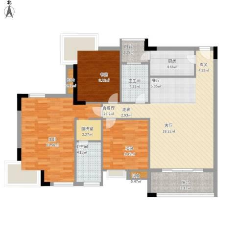 新世纪可居3室1厅2卫1厨128.00㎡户型图