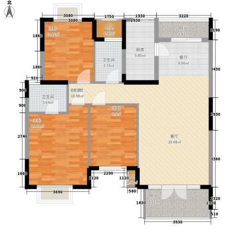 龙福小区3室0厅2卫1厨137.00㎡户型图