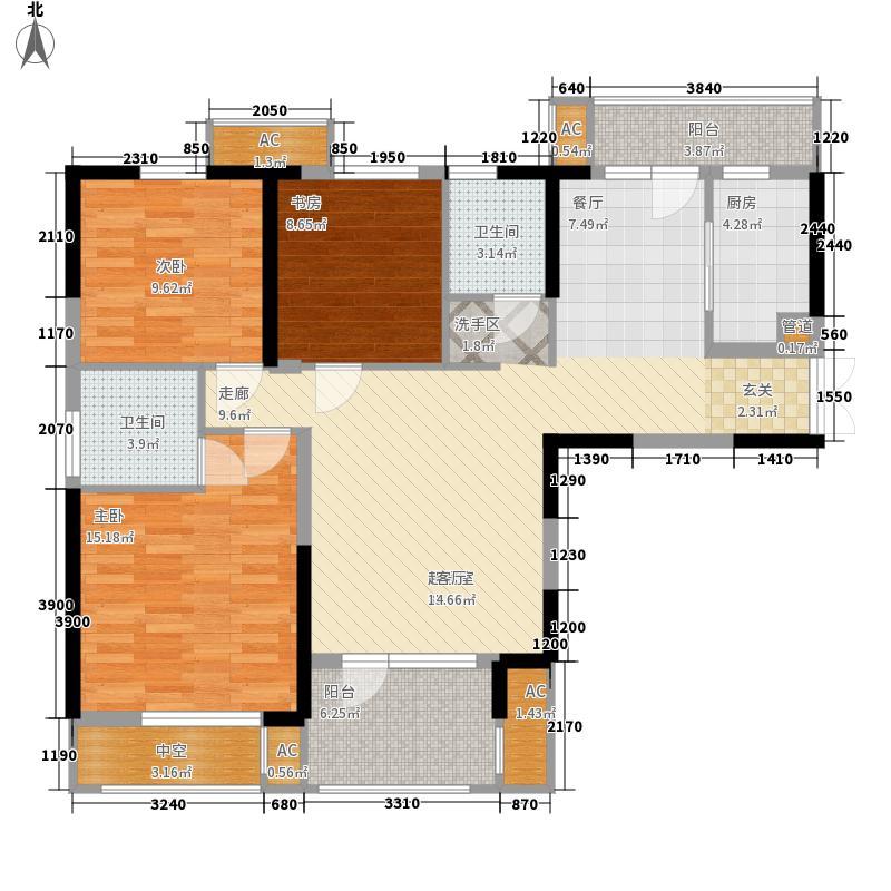龙阳1号122.00㎡1-2b-2户型3室2厅