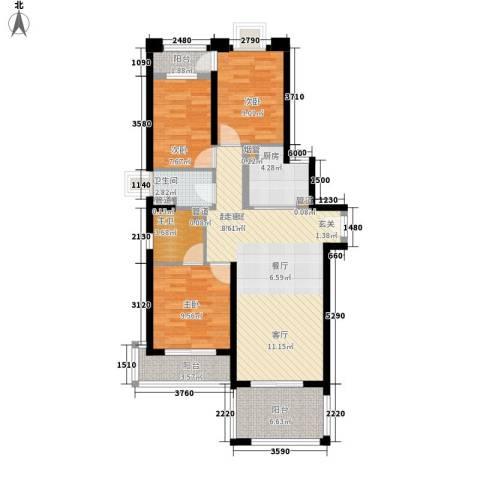 长福花园3室0厅1卫1厨112.00㎡户型图